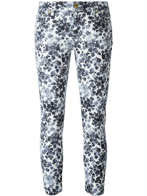 floral print cropped skinny jeans 11398092